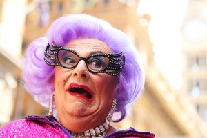Dame Edna participates with her fans in a Zumba fitness class at Martin Place in Sydney, Australia, in January 2013. Brendon Thorne/Getty Images